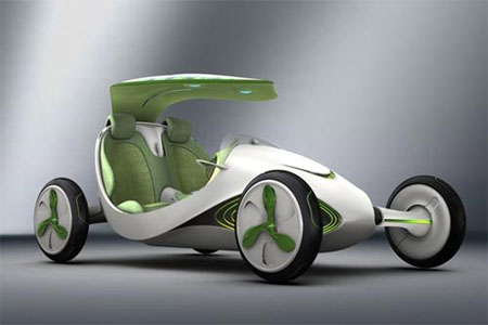 the energy efficient leaf car produces oxygen to keep the environment green